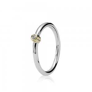 Morning Star, Silver ring, 14k, 0.03ct TW h/vs diamond - 190213D - Pierścionki PANDORA
