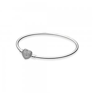 Moments Always in My Heart Silver Bangle - Pandora PL